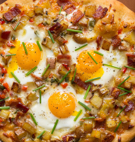 Potato egg bacom style pizza close-up