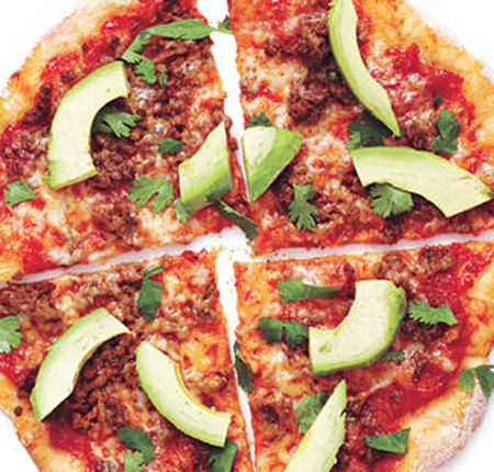 Taco advocado style pizza close-up