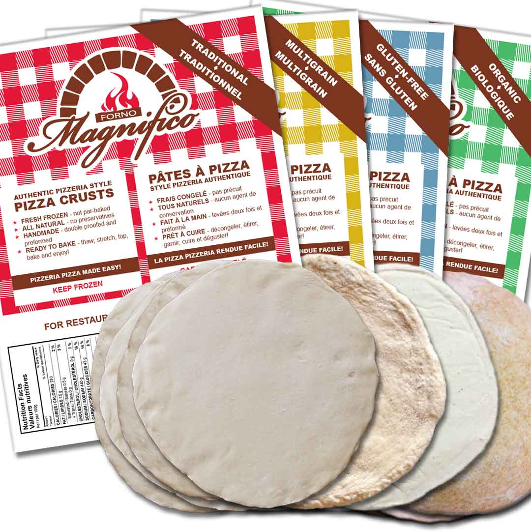 Four Forno Magnifico Authentic Pizza Crusts, Traditional, Multigrain, Gluten-Free, Organic